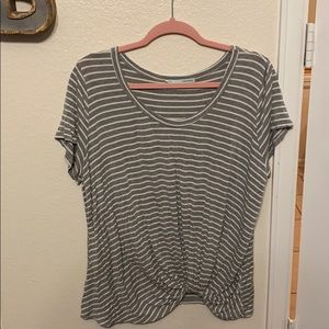Grey & White striped slouchy tee from Maurices